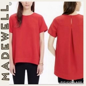 Madewell • Short Sleeve Red Blouse • Large